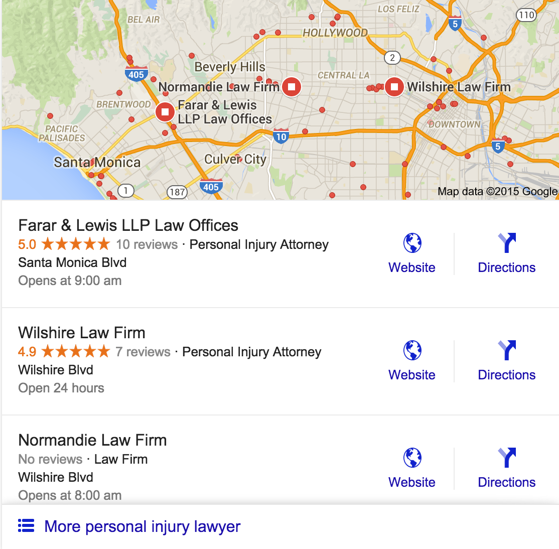 lawyers google local map search results