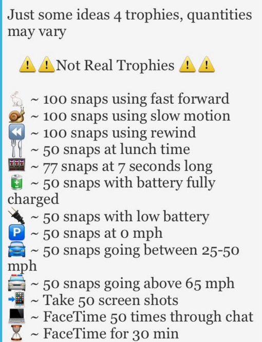 how to get snapchat trophies unlocked