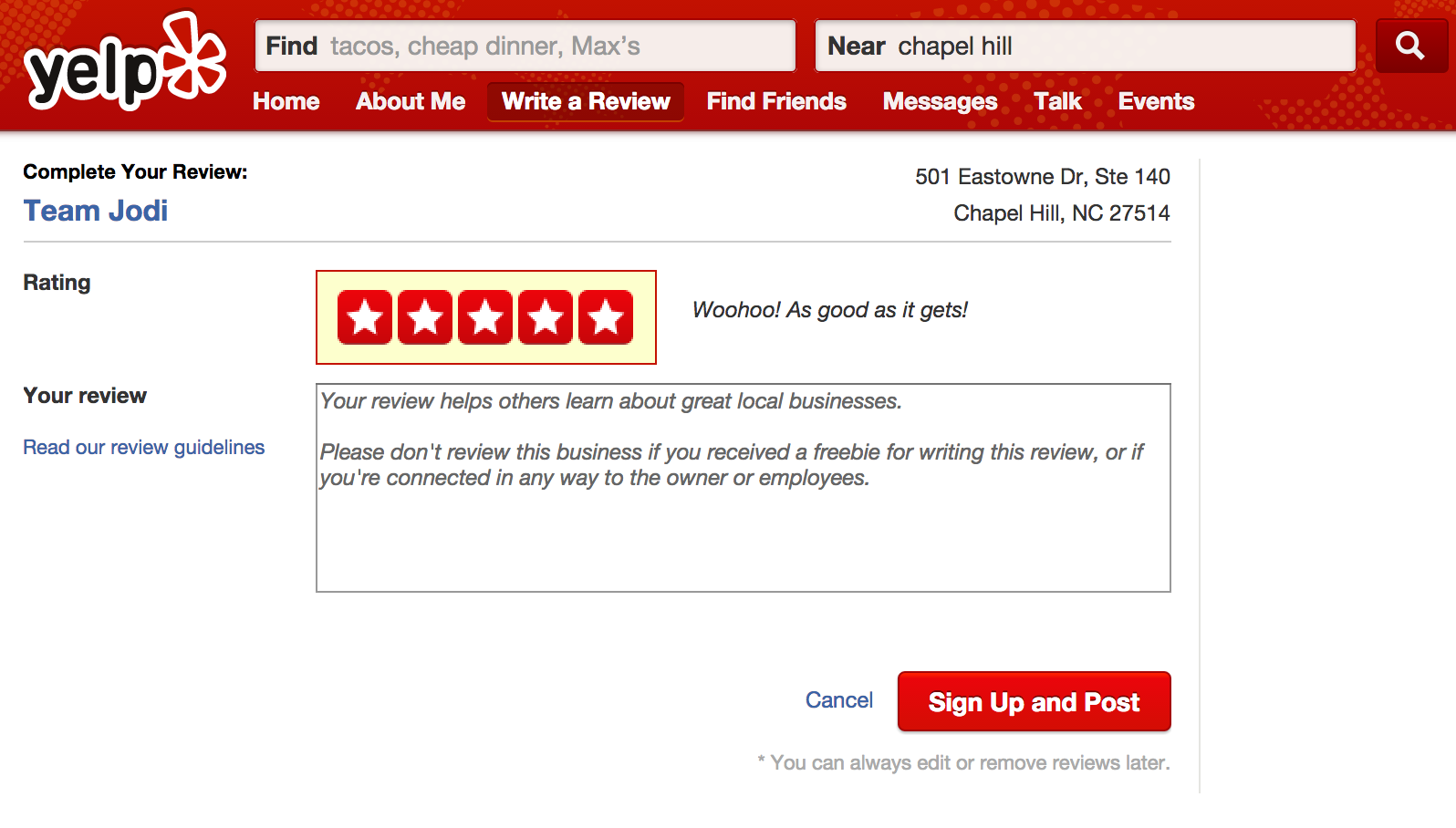 Yelp review writing service