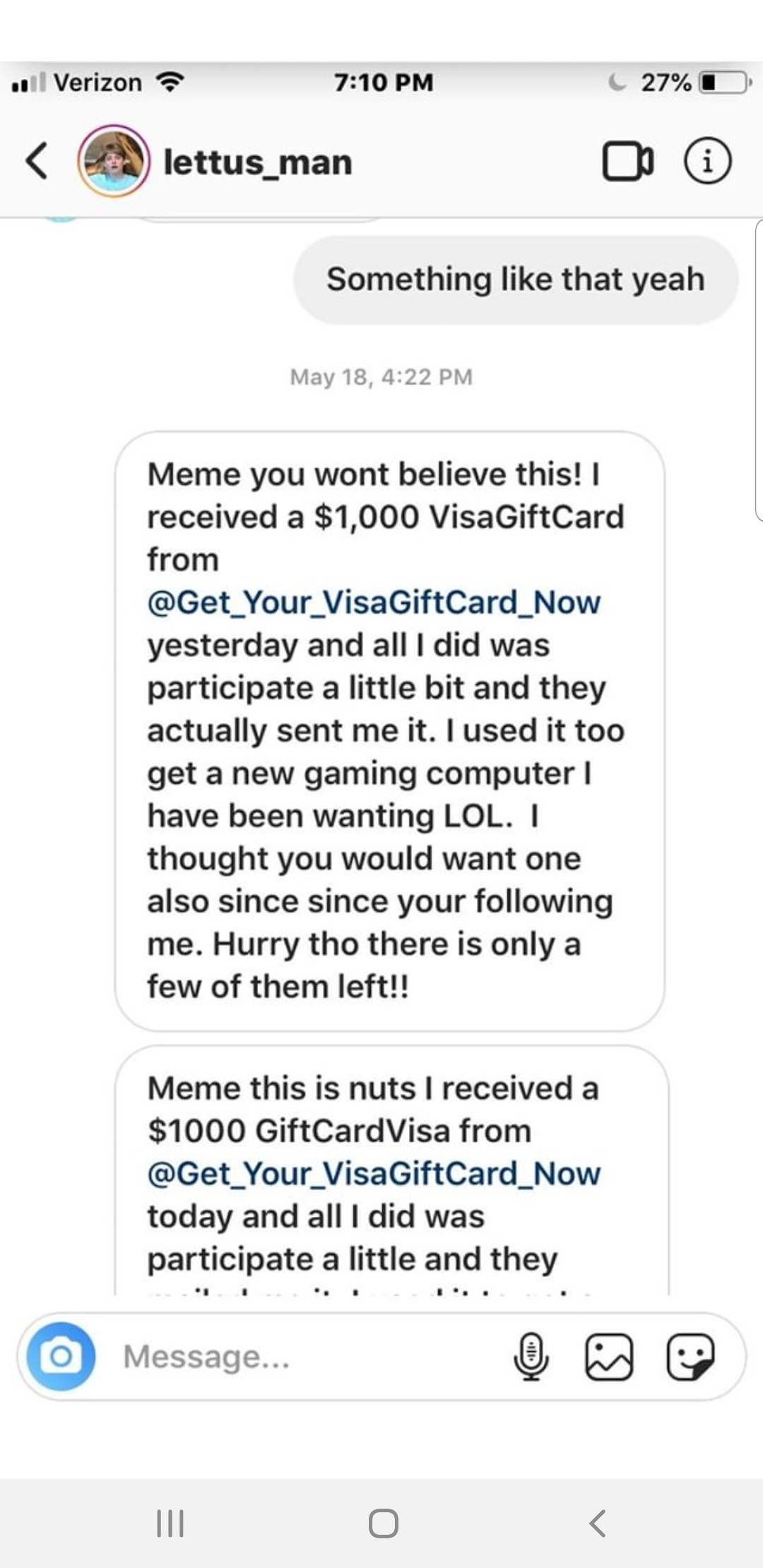 $1000 Free Visa Gift Card Instagram DM Hack - Real of Fake